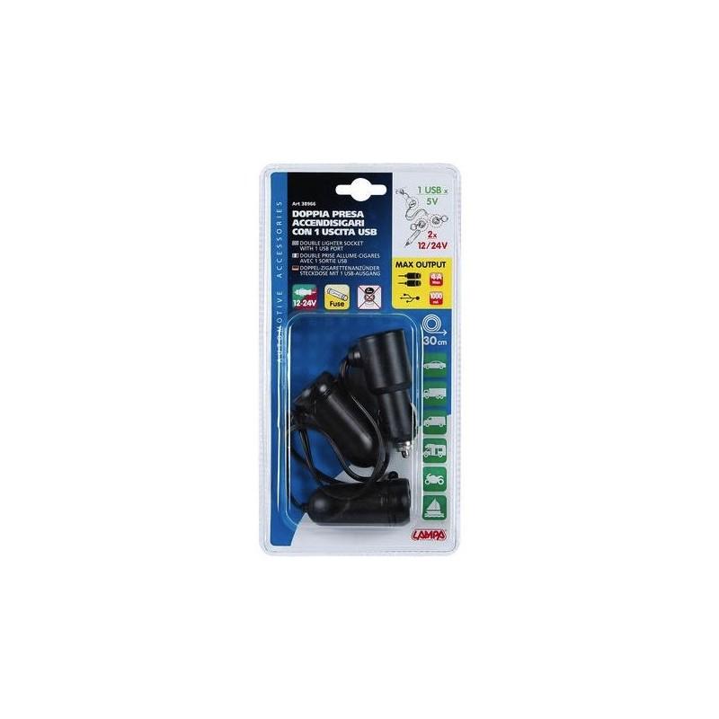 DOUBLE PRISE ALLUME CIGARE AVEC 1 SORTIE USB, 12/24 V - Électricité