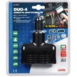 DOUBLE PRISE DUO 4 12/24V USB - Électricité