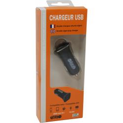 CHARGEUR USB TEC NOIR 2 SORTIES - Téléphonie