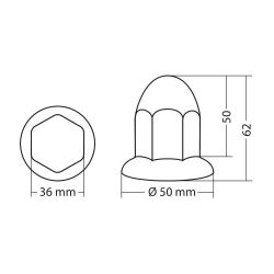 Cache-boulons chromés en ABS - Ø 32 mm - Set 10 pcs - Outillage